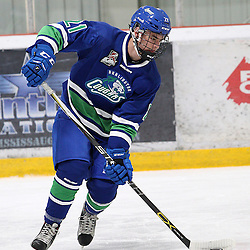 BURLINGTON, ON - SEP 9:  Jeff Schrattner #21 of the Burlington Cougars skates with the puck in the first period during the OJHL regular season game between the Orangeville Flyers and the Burlington Cougars. Orangeville Flyers and Burlington Cougars  on September 9, 2016 in Burlington, Ontario. (Photo by Tim Bates / OJHL Images)