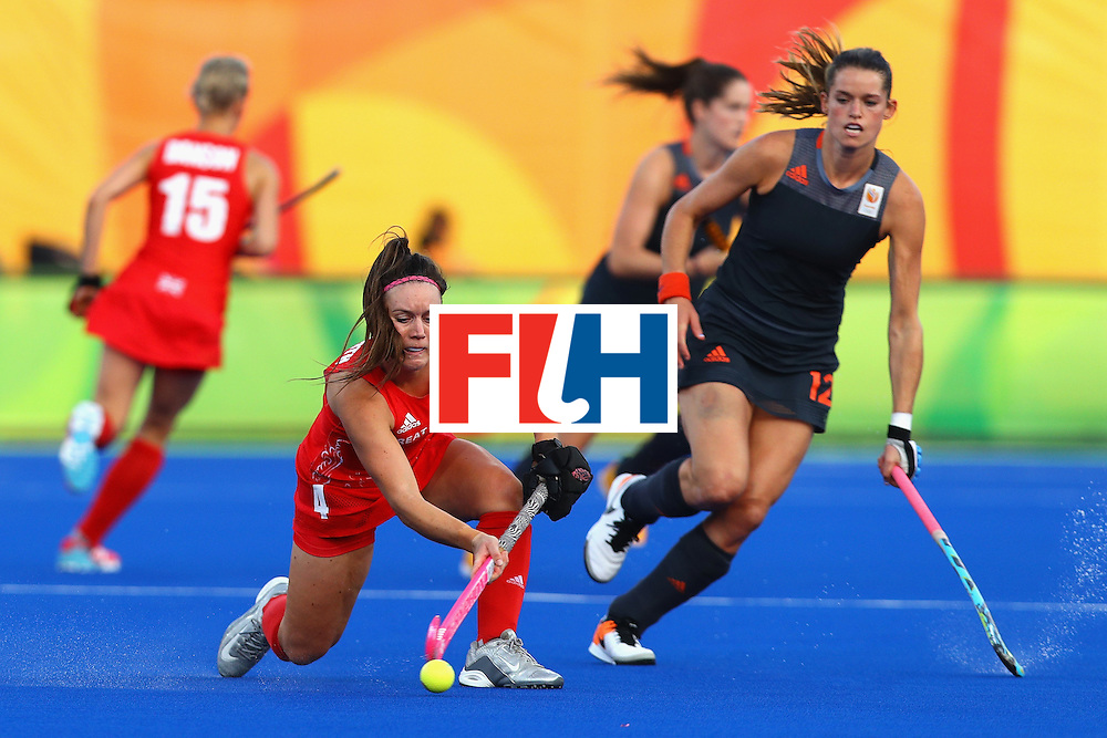 RIO DE JANEIRO, BRAZIL - AUGUST 19:  Laura Unsworth #4 of Great Britain in action during the Women's Gold Medal Match against the Netherlands on Day 14 of the Rio 2016 Olympic Games at the Olympic Hockey Centre on August 19, 2016 in Rio de Janeiro, Brazil.  (Photo by Tom Pennington/Getty Images)