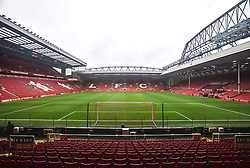 LIVERPOOL, ENGLAND - Sunday, December 12, 2015: A view inside Anfield Stadium, looking towards the famous Spion Kop ahead of Liverpool's fixture against West Bromwich Albion in the Premier League. (Pic by David Rawcliffe/Propaganda)