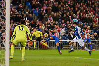 Atletico de Madrid's player Koke Resurrección and RCD Espanyol player Diego Lopez and Diego Reyes during match of La Liga between Atletico de Madrid and RCD Espanyol at Vicente Calderon Stadium in Madrid, Spain. December 03, 2016. (ALTERPHOTOS/BorjaB.Hojas)