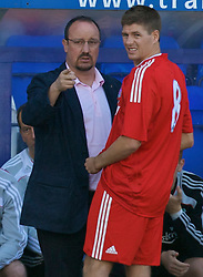 BIRKENHEAD, ENGLAND - Saturday, July 12, 2008: Liverpool's manager Rafael Benitez and captain Steven Gerrard MBE during their side's first pre-season match of the 2008/2009 season against Tranmere Rovers at Prenton Park. (Photo by David Rawcliffe/Propaganda)