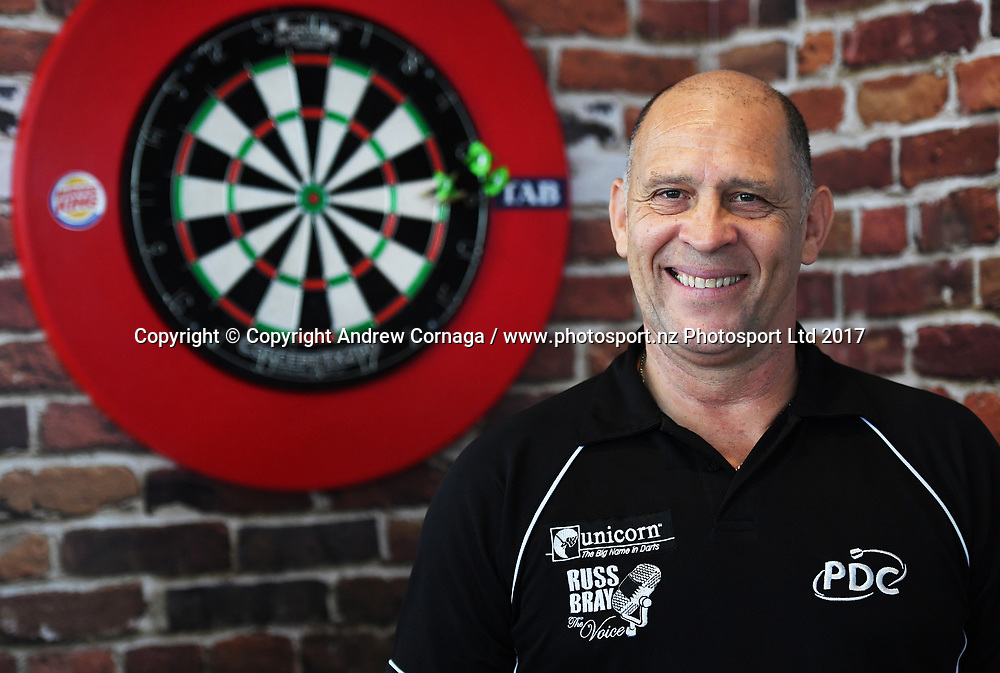 PDC referee Russ Bray.<br /> Auckland Darts Masters press conference and draw. Professional Darts Corporation (PDC). Burger King, Auckland, New Zealand. Thursday 10 August 2017. &copy; Copyright photo: Andrew Cornaga / www.photosport.nz