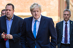 © Licensed to London News Pictures. 23/07/2019. London, UK. Boris Johnson, who has been elected as Leader of the Conservative Party and will become the next Prime Minister, returns to his Westminster HQ after the result was announced. Photo credit: Rob Pinney/LNP