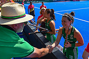 Roisin Upton of Ireland (18) shakes the hand of a fan after winning the Vitality Hockey Women's World Cup 2018 Semi-Final match between Ireland and Spain at the Lee Valley Hockey and Tennis Centre, QE Olympic Park, United Kingdom on 4 August 2018. Picture by Martin Cole.