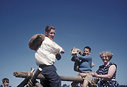 Pillow fighting at Sunday School Traer Market, Kersey, Suffolk, 1959