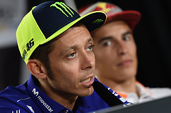 August 9, 2018 - Spielberg, Austria - 46 Italian driver Valentino Rossi of Team Movestar Yamaha MotoGP and  93 Spanish driver Marc Marquez of Team Repsol Honda Team during official press conference before Austrian GP in Red Bull Ring in Spielberg, Austria, on August 9, 2018. (Credit Image: © Andrea Diodato/NurPhoto via ZUMA Press)