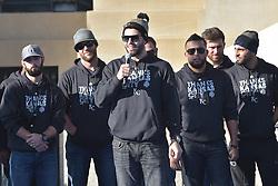 Nov 3, 2015; Kansas City, MO, USA; Kansas City Royals first baseman Eric Hosmer (35) speaks to fans during the celebration at Union Station. Mandatory Credit: Denny Medley-USA TODAY Sports