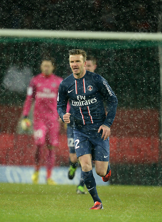 24.FEBRUARY.2013. PARIS<br /> <br /> DAVID BECKHAM MAKES HIS PSG HOME DEBUT DURING THE FRENCH FIRST DIVISION FOOTBALL MATCH. PARIS SAINT-GERMAIN VS OLYMPIQUE DE MARSEILLE AT PARC DRS PRINCES IN PARIS, PSG WON 2-0.   <br /> <br /> BYLINE: EDBIMAGEARCHIVE.CO.UK<br /> <br /> *THIS IMAGE IS STRICTLY FOR UK NEWSPAPERS AND MAGAZINES ONLY*<br /> *FOR WORLD WIDE SALES AND WEB USE PLEASE CONTACT EDBIMAGEARCHIVE - 0208 954 5968*