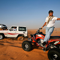 A weekend excursion to the desert outside Riyadh for camping and driving four-wheel vehicles is a common pastime for many young Saudi men. March 2008.