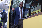 Southend United manager Sol Campbell exiting, getting off the coach during the EFL Sky Bet League 1 match between AFC Wimbledon and Southend United at the Cherry Red Records Stadium, Kingston, England on 1 January 2020.