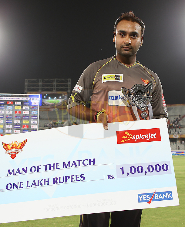 Amit Mishra is man of the match during match 3 of of the Pepsi Indian Premier League between The Sunrisers Hyderabad and The Pune Warriors held at the Rajiv Gandhi International  Stadium, Hyderabad  on the 5th April 2013..Photo by Ron Gaunt-IPL-SPORTZPICS..Use of this image is subject to the terms and conditions as outlined by the BCCI. These terms can be found by following this link:..http://www.sportzpics.co.za/image/I0000SoRagM2cIEc