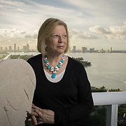 MIAMI BEACH, FLORIDA - NOVEMBER 20, 2015: <br /> Louise Sunshine, a powerful real estate developer who worked for Donald Trump for  15 years starting in the 70's  and rose to Senior Vice President in Trump Enterprises, on the balcony of her very spacious Miami Beach penthouse. Sunshine keeps several mementos of her time with Trump in her house. (Photo by Angel Valentin/Freelance)