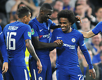 Football - 2017 / 2018 EFL (League) Cup - Fourth Round: Chelsea vs. Everton<br /> <br /> Willian of Chelsea celebrates with fellow goalscorer, Antonio Rudiger after the 2nd goal at Stamford Bridge.<br /> <br /> COLORSPORT/ANDREW COWIE