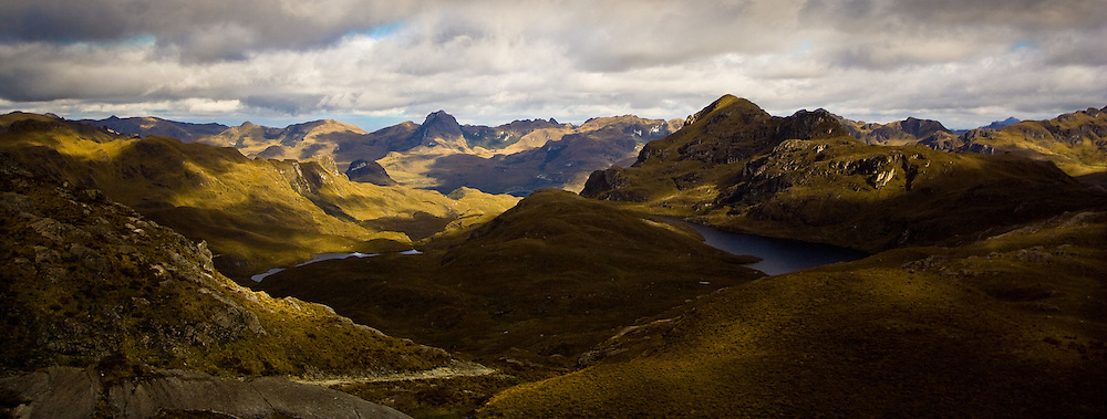 Mountains and lakes of Cajas National Park in southern Ecuador, home of the BLack Cajas Harlequin Frog, Atelopus nanay.