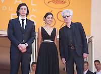 Actor Adam Driver, Actress Golshifteh Farahani and Director Jim Jarmusch at the gala screening for the film Paterson at the 69th Cannes Film Festival, Monday 16th May 2016, Cannes, France. Photography: Doreen Kennedy