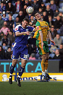 Leicester - Saturday, February 16th, 2008: Steve Howard (L) of Leicester City and Jason Shackell (R) of Norwich City during the Coca Cola Champrionship match at the Walkers Stadium, Leicester. (Pic by Mark Chapman/Focus Images)