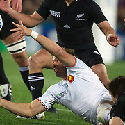 Vincent Clerc, France, gets the ball away  during the New Zealand V France Final at the IRB Rugby World Cup tournament, Eden Park, Auckland, New Zealand. 23rd October 2011. Photo Tim Clayton...