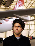 Actor Adrian Grenier poses as Virgin America launches JFK-Las Vegas Service with 'Entourage' Airbus A320 at JFK Airport in New York City in New York City, USA on September 4, 2008.