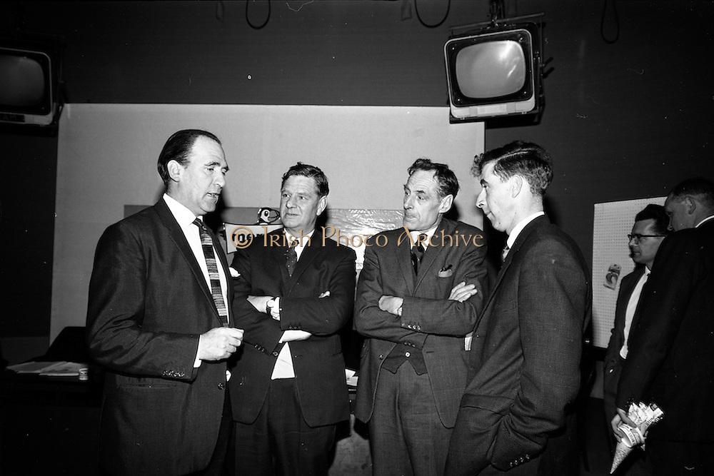 23/04/1965<br /> 04/23/1965<br /> 23 April 1965 <br /> Merville Dairy Conference at Telefis Eireann studios at Donneybrook, Dublin. Sales conference for Merville distributers by Merville Cream Ices Ltd. (l-r): Mr. Charles Mitchell, T.E. Newsreader; Mr. Eric Craigie, Managing Director Merville; Mr. Victor Craigie, Director and Mr. Roy Craigie, Director.