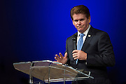 Arlington Mayor Jeff Williams speaks during a memorial service for Christian Taylor at Cornerstone Baptist Church in Arlington, Texas on August 12, 2015. (Cooper Neill for The New York Times)