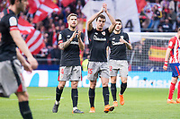 Atletico de Madrid XXX and Athletic Club Inigo Martinez, Inigo Lekue  and Unai Nunez during La Liga match between Atletico de Madrid and Athletic Club and Wanda Metropolitano in Madrid , Spain. February 18, 2018. (ALTERPHOTOS/Borja B.Hojas)