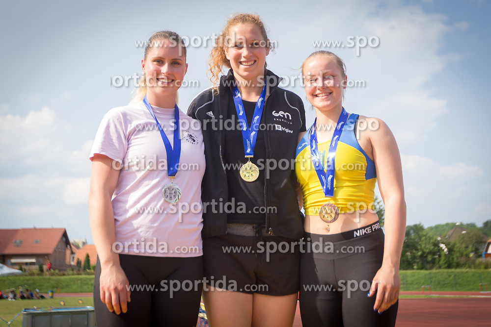 Claudia Stravs, Barbara Spiler and Lina Cater at medal ceremony during day 2 of Slovenian Athletics Cup 2019, on June 16, 2019 in Celje, Slovenia. Photo by Peter Kastelic / Sportida
