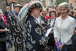 HRH The Duchess of Gloucester opened the Diamond Jubilee Garden in the South Courtyard of the Inigo Jones designed church. Pic Shows The Duchess of Gloucester with Pearly Queens at the device for the garden, London, United Kingdom. Wednesday, 25th September 2013. Picture by i-Images