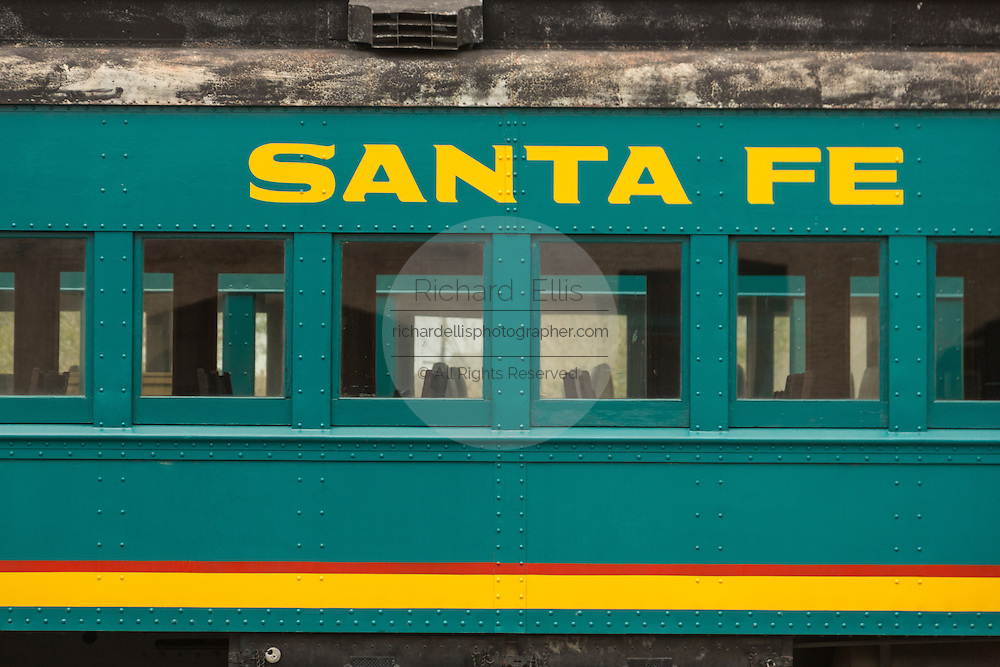 Sign on a rail car in the old Santa Fe train station now the center of the Railyard District in Santa Fe, New Mexico.