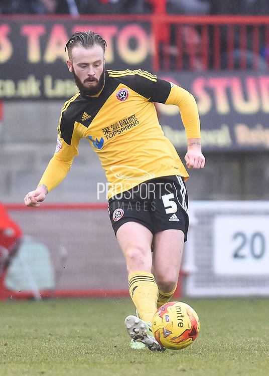 John Brayford during the Sky Bet League 1 match between Crawley Town and Sheffield Utd at Broadfield Stadium, Crawley, England on 28 February 2015. Photo by David Charbit.