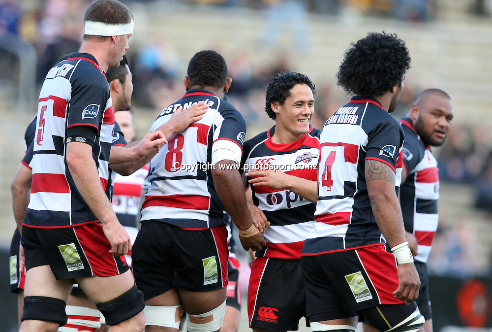 Tasesa Lavea congratulates Waka Setitala after scoring a try for Counties Manukau.<br /> Air NZ Cup - Otago v Counties Manukau, 24 October 2009, Carisbrook, Dunedin, New Zealand.<br /> Photo: Rob Jefferies/PHOTOSPORT