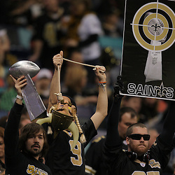 Jan 24, 2010; New Orleans, LA, USA; New Orleans Saints fans celebrate in the stands during a 31-28 overtime victory over the Minnesota Vikings in the 2010 NFC Championship game at the Louisiana Superdome. Mandatory Credit: Derick E. Hingle-US PRESSWIRE