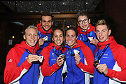 Axel Reymond, Logan Fontaine, Marc Antoine Olivier, Lisa Pou, Lara Grangeon and David Aubry for France pose with the medal on Open Water during the Swimming European Championships Glasgow 2018, at Tollcross International Swimming Centre, in Glasgow, Great Britain, Day 11, on August 12, 2018 - Photo Stephane Kempinaire / KMSP / ProSportsImages / DPPI