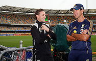 Ricky Ponting and Brendon McCullum share a joke as they check out the weather conditions at the Gabba. 5th ODI cricket match between the New Zealand Black Caps and Australia at the Gabba, Friday 13 February 2009 Brisbane, Australia. Photo: Andrew Cornaga/PHOTOSPORT