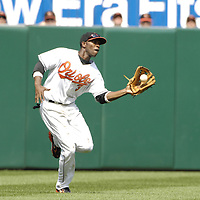 09 September 2007:  Baltimore Orioles left fielder Freddie Bynum (3) makes a running catch in the 1st inning on a ball hit by Boston Red Sox center fielder Coco Crisp.  The Red Sox defeated the Orioles 3-2 at Camden Yards in Baltimore, MD.  ****For Editorial Use Only****