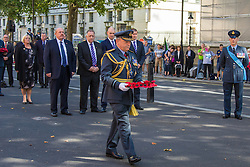 Whitehall, London, August 28th 2015.  Six wreaths are laid at the Cenotaph by representatives from the Armed Forces, the RFL, the Parliamentary Rugby League Group and Ladbrokes Challenge Cup finalists Hull Kingston Rovers and Leeds Rhinos, ahead of Saturday's Ladbrokes Challenge Cup Final at Wembley. PICTURED: Vice Chief of Defence Staff and President of Great Britain Armed Forces Rugby League, Sir Stuart Peach.