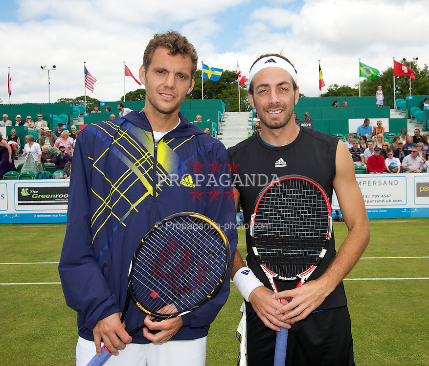 LIVERPOOL, ENGLAND - Saturday, June 19, 2010: Paul-Henri Mathieu (FRA) and Nicolas Massu (CHI) before the Men's Singles Final on day four of the Liverpool International Tennis Tournament at Calderstones Park. (Pic by David Rawcliffe/Propaganda)
