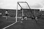 25/04/1965<br /> 04/25/1965<br /> 25 April 1965<br /> F.A.I. Cup Final: Shamrock Rovers v Limerick at Dalymount Park, Dublin. Limerick centre forward Mitchell lands onkeeper Smyth of Shamrock Rovers as the ball is in the net. The goal was disallowed.