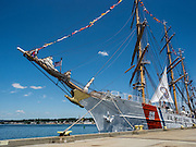 New London, Connecticut, USA - July 9, 2012: The US Coast Guard training ship Eagle seen here moored at Fort Trumbull, on the last day of OpSail 2012 CT, celebrating the bicentennial of the War of 1812 and the penning of the Star Spangled Banner, the US National Anthem.