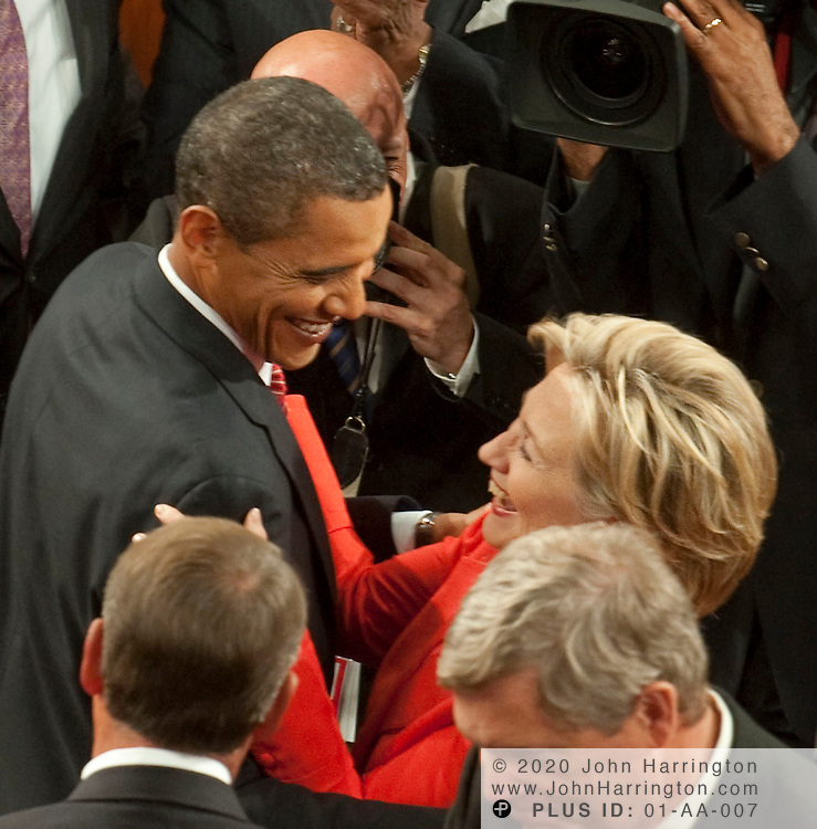 President Obama greets Sec. Hillary Clinton prior to giving an address to a joint session of Congress to promote his health care reform agenda, Wednesday, September 9, 2009 at the US Capitol.