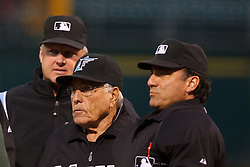 June 28, 2011; Oakland, CA, USA; Florida Marlins interim manager Jack McKeon (center) meets with umpires before the game against the Oakland Athletics at the O.co Coliseum.  Oakland defeated Florida 1-0.