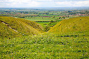 Chalk scarp slope with dry valleys at Roundway Hill, a special place for wildlife, near Devizes, Wiltshire, England