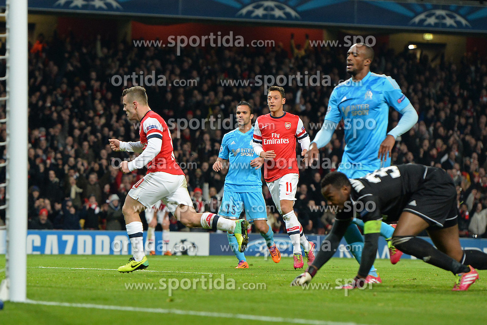 26.11.2013, The Emirates Stadium, London, ENG, UEFA CL, FC Arsenal vs Olympique Marseille, Gruppe F, im Bild Arsenal's Jack Wilshere celebrates scoring, goal // Arsenal's Jack Wilshere celebrates scoring, goal during UEFA Champions League group F match between FC Arsenal and Olympique Marseille at the The Emirates Stadium in London, Great Britain on 2013/11/26. EXPA Pictures © 2013, PhotoCredit: EXPA/ Mitchell Gunn<br /> <br /> *****ATTENTION - OUT of GBR*****