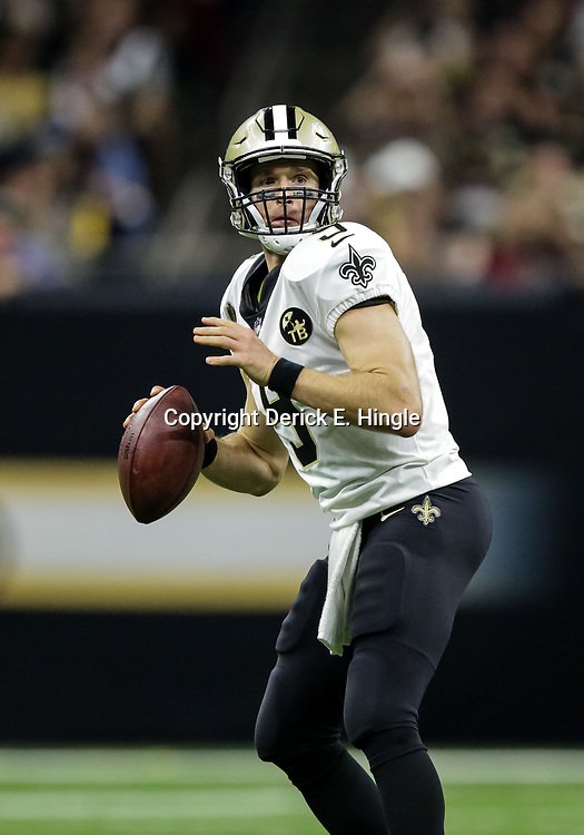 Oct 8, 2018; New Orleans, LA, USA New Orleans Saints quarterback Drew Brees (9) throws against the Washington Redskins during the fourth quaqrter at the Mercedes-Benz Superdome. The Saints defeated the Redskins 43-19.
