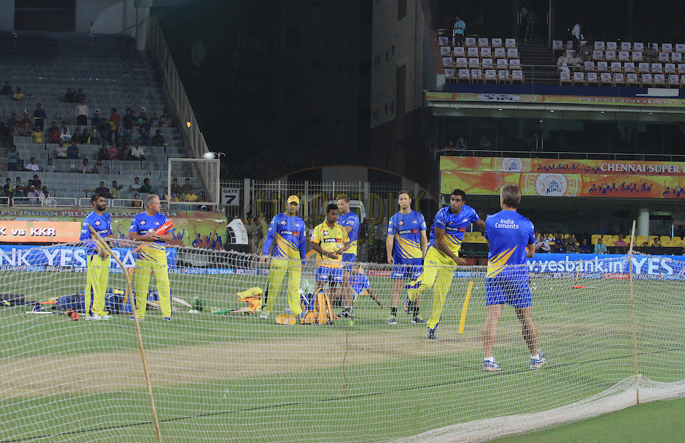 Chennai Superkings players warmup during match 21 of the Pepsi Indian Premier League Season 2014 between the Chennai Superkings and the Kolkata Knight Riders  held at the JSCA International Cricket Stadium, Ranch, India on the 2nd May  2014<br /> <br /> Photo by Arjun Panwar / IPL / SPORTZPICS<br /> <br /> <br /> <br /> Image use subject to terms and conditions which can be found here:  http://sportzpics.photoshelter.com/gallery/Pepsi-IPL-Image-terms-and-conditions/G00004VW1IVJ.gB0/C0000TScjhBM6ikg