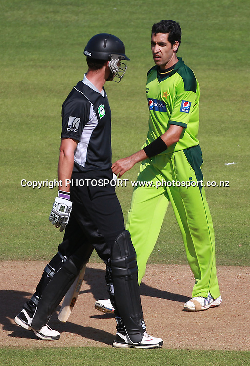 James Franklin and Umar Gul exchange words during the 4th ODI, Black Caps v Pakistan, One Day International Cricket. McLean Park, Napier, New Zealand. Tuesday 1 February 2011. Photo: Andrew Cornaga/photosport.co.nz
