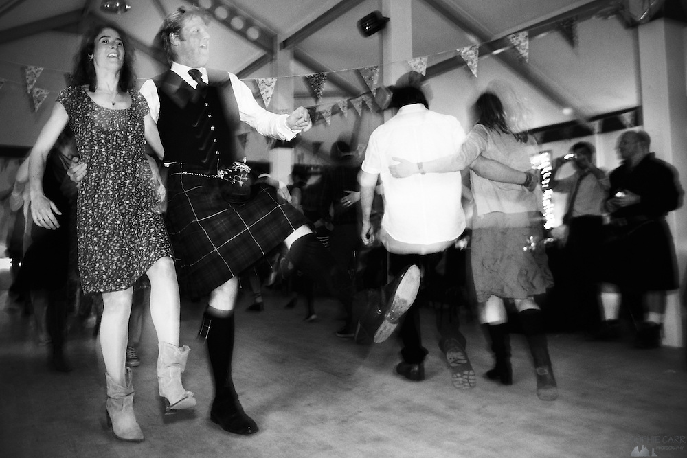 Guests dancing at the ceilidh at Jan & Carrie's wedding on Vatersay