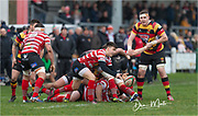 Carmarthen Quins' second row Haydn Pugh (Capt.) in action during todays match.<br /> <br /> Photographer: Dan Minto<br /> <br /> Indigo Welsh Premiership Rugby - Round 12 - Llandovery RFC v Carmarthen Quins RFC - Saturday 28th December 2019 - Church Bank, Llandovery, South Wales, UK.<br /> <br /> World Copyright © Dan Minto Photography<br /> <br /> mail@danmintophotography.com <br /> www.danmintophotography.com