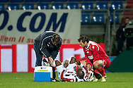 Onderwerp/Subject: Willem II - Eredivisie<br /> Reklame:  <br /> Club/Team/Country: <br /> Seizoen/Season: 2012/2013<br /> FOTO/PHOTO: Mitchell PIQUE of Willem II is treated for his injury. (Photo by PICS UNITED)<br /> <br /> Trefwoorden/Keywords: <br /> #06 $94 &plusmn;1342772348418<br /> Photo- &amp; Copyrights &copy; PICS UNITED <br /> P.O. Box 7164 - 5605 BE  EINDHOVEN (THE NETHERLANDS) <br /> Phone +31 (0)40 296 28 00 <br /> Fax +31 (0) 40 248 47 43 <br /> http://www.pics-united.com <br /> e-mail : sales@pics-united.com (If you would like to raise any issues regarding any aspects of products / service of PICS UNITED) or <br /> e-mail : sales@pics-united.com   <br /> <br /> ATTENTIE: <br /> Publicatie ook bij aanbieding door derden is slechts toegestaan na verkregen toestemming van Pics United. <br /> VOLLEDIGE NAAMSVERMELDING IS VERPLICHT! (&copy; PICS UNITED/Naam Fotograaf, zie veld 4 van de bestandsinfo 'credits') <br /> ATTENTION:  <br /> &copy; Pics United. Reproduction/publication of this photo by any parties is only permitted after authorisation is sought and obtained from  PICS UNITED- THE NETHERLANDS