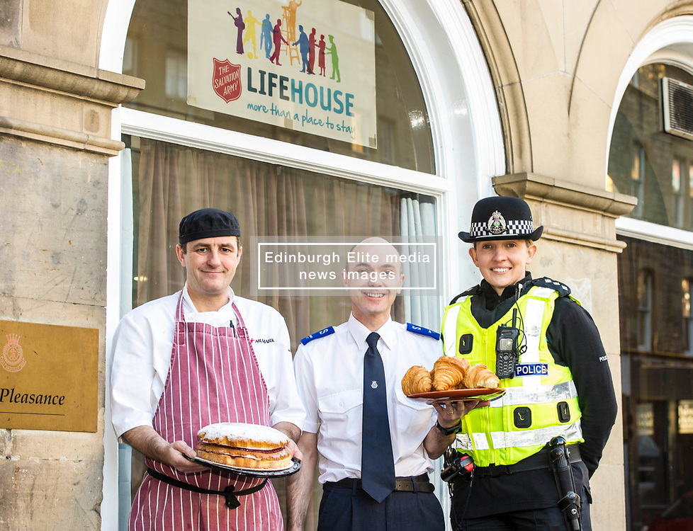 Pictured: Chef Donald Macleod, Iain Wilson, Salvation Army Service manager Edinburgh homeless service and Chief Inspector Helen Harrison.<br /> <br /> Police Scotland's Chief Inspector Helen Harrison stopped by at the Lighthouse, at The Pleasance, Edinburgh, today to launch operation Winter City alongside the Salvation Army. The Annual multi-agency initiative involves Police Scotland which helps keep people safe over the Christmas and New Year period. <br /> <br /> Ger Harley   EEm Date