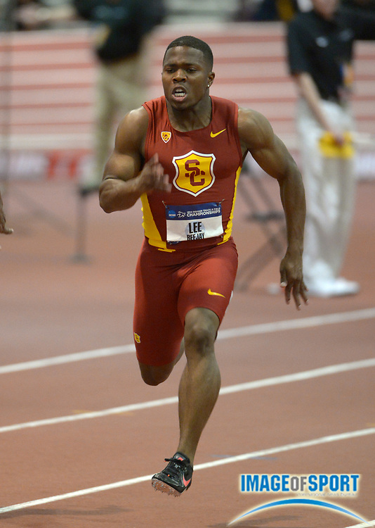 Mar 14, 2014; Albuquerque, NM, USA; BeeJay Lee of Southern California runs 6.66 in a 60m heat in the 2014 NCAA Indoor Championships at Albuquerque Convention Center.